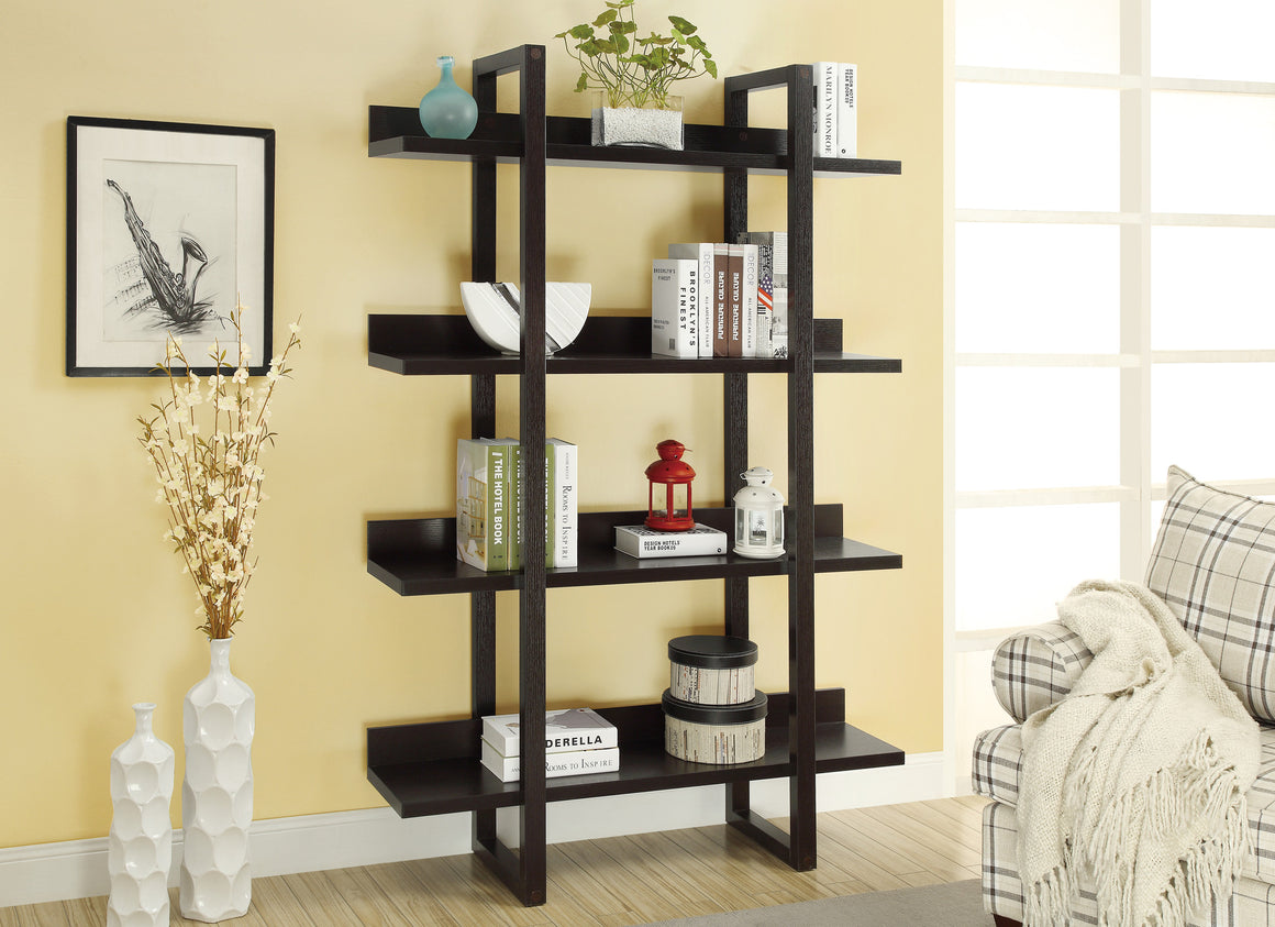 "71""H Cappuccino Open Concept Display Etagere Bookcase by Monarch Specialties - TheOfficeFurnitureDepot"