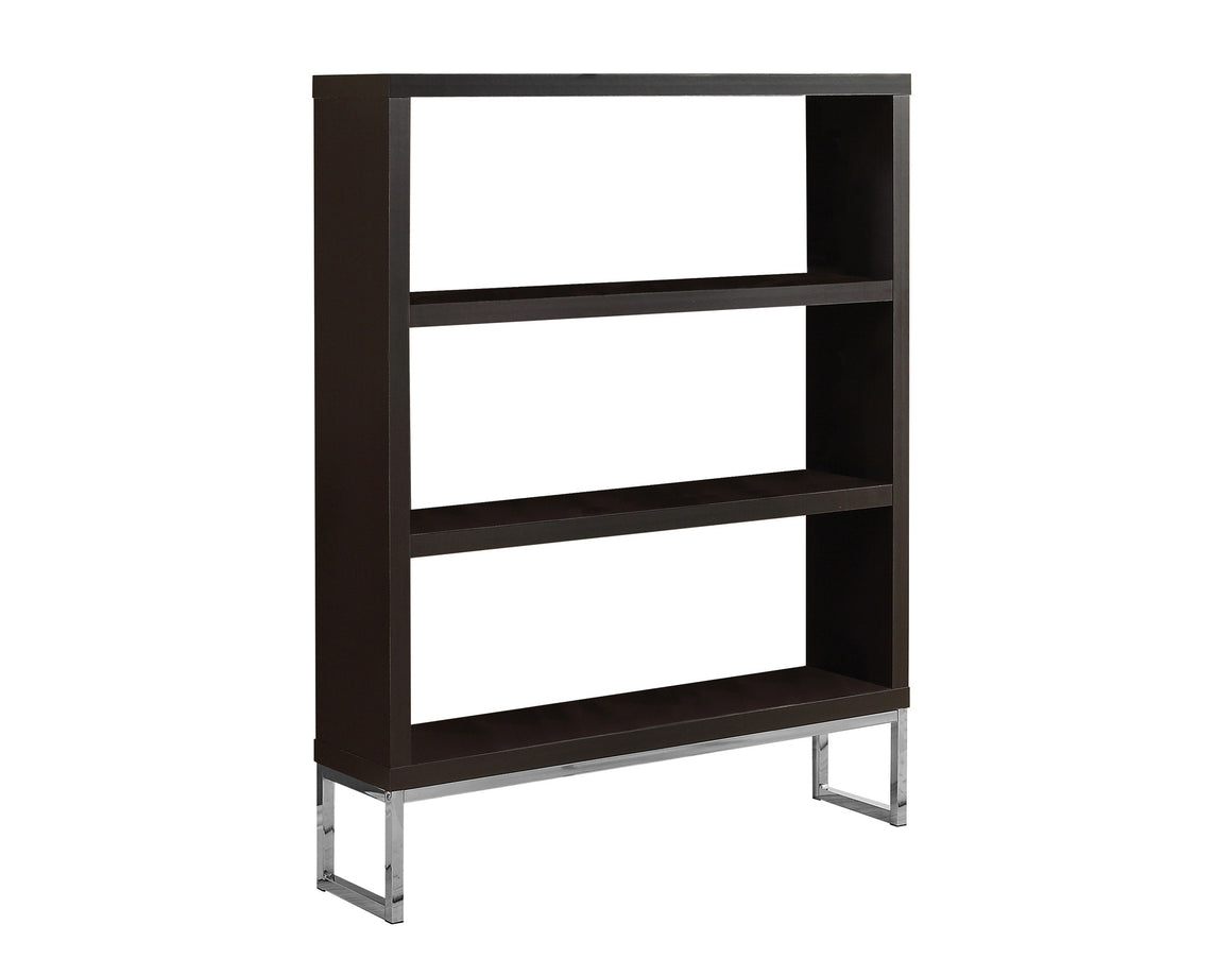 "60""H Cappuccino/Chrome Metal Room Divider Bookcase - TheOfficeFurnitureDepot"