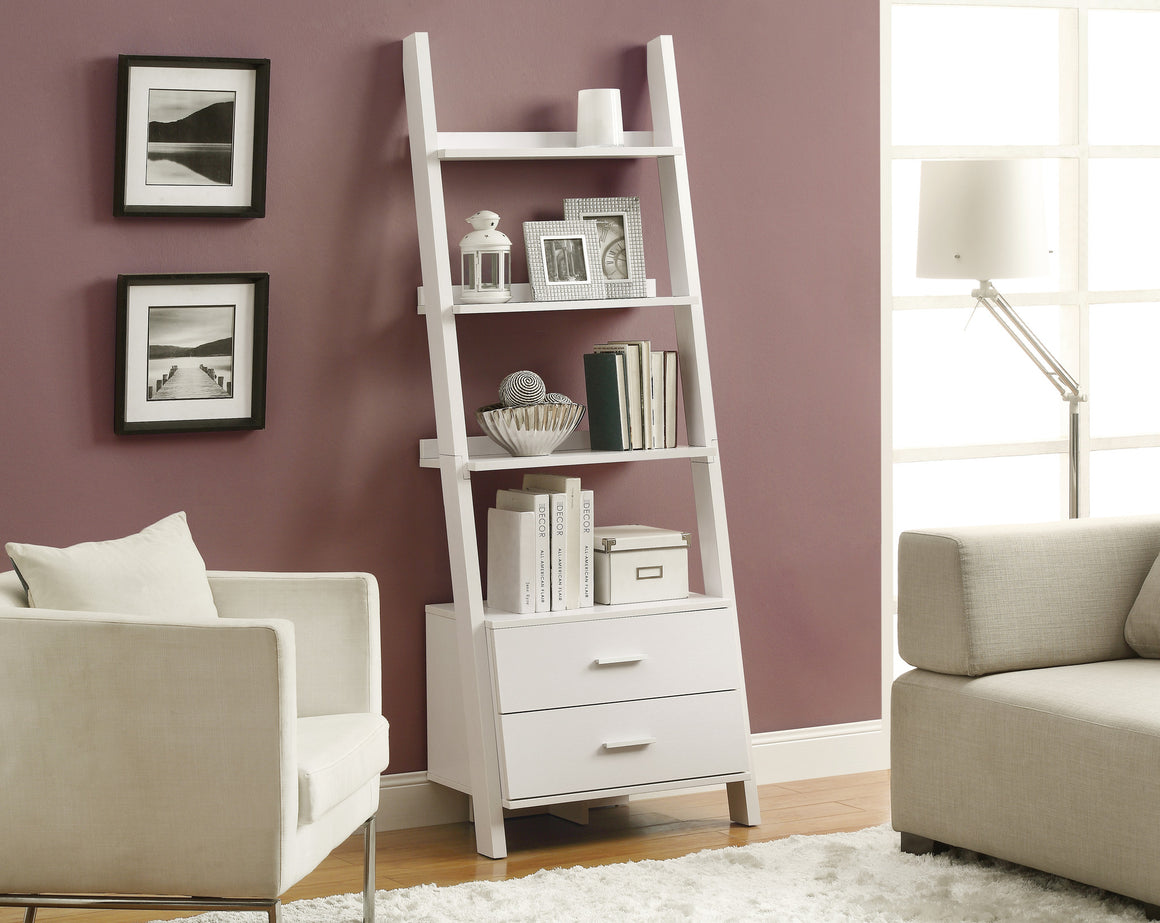 "69""H Ladder Bookcase with 2 Storage Drawers - TheOfficeFurnitureDepot"