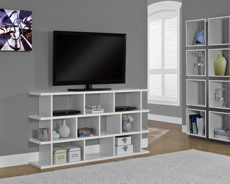 "60""H White Horizontal or Vertical Etagere Bookcase by Monarch Specialties Inc. - TheOfficeFurnitureDepot"