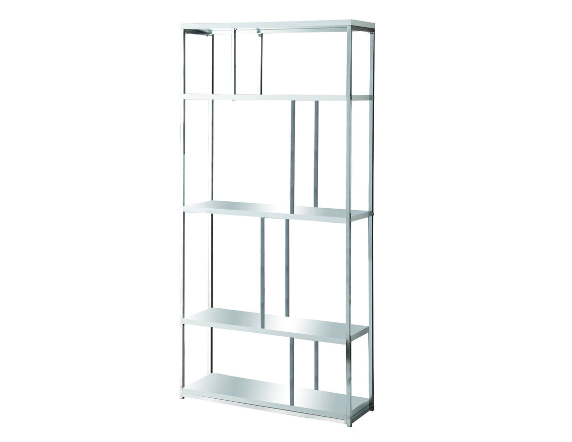 "72""H Glossy White Bookcase with Chrome Metal by Monarch Specialties Inc.  - White Background - TheOfficeFurnitureDepot"
