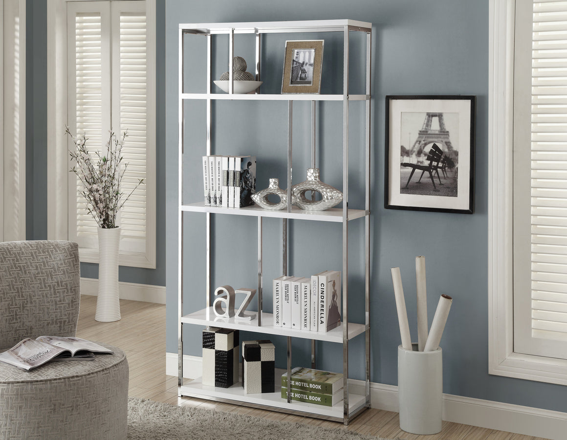 "72""H Glossy White Bookcase with Chrome Metal by Monarch Specialties Inc. - TheOfficeFurnitureDepot"