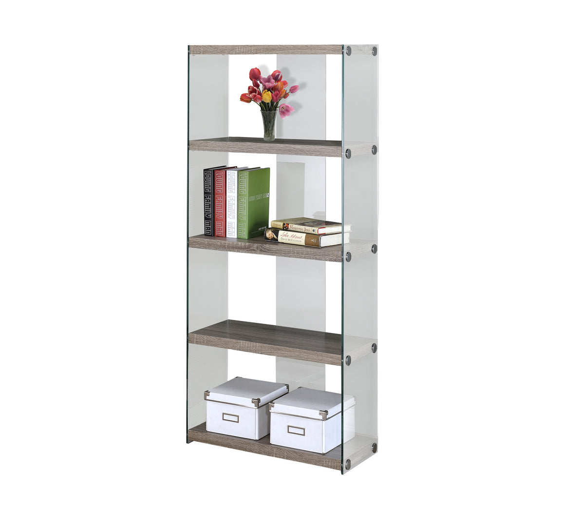 "60""H Dark Taupe Bookcase with Tempered Glass by Monarch Specialties Inc. - White Background -TheOfficeFurnitureDepot"