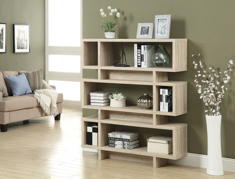 "55""H Natural Finish Modern Style Bookcase by Monarch Specialties Inc. - TheOfficeFurnitureDepot"
