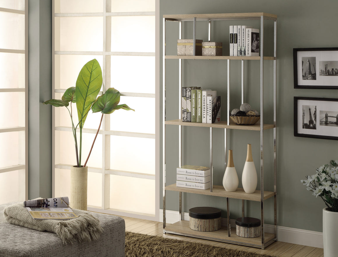 "72""H Natural Finish Bookcase with Chrome Metal by Monarch Specialties Inc. - TheOfficeFurnitureDepot"