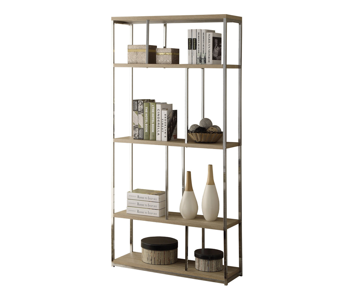 "72""H Natural Finish Bookcase with Chrome Metal by Monarch Specialties Inc.  - White Background - TheOfficeFurnitureDepot"