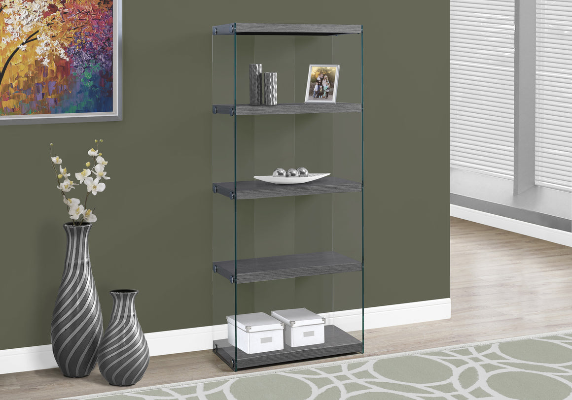 "60""H Grey Bookcase with Tempered Glass by Monarch Specialties Inc. - TheOfficeFurnitureDepot"