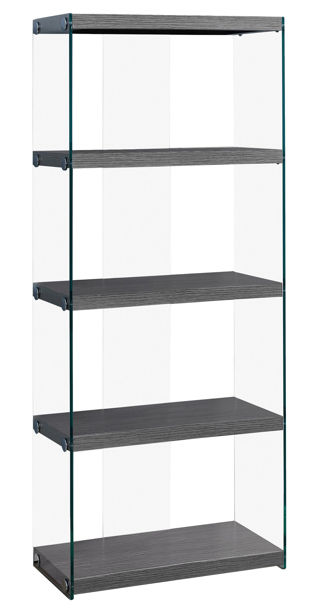 "60""H Grey Bookcase with Tempered Glass by Monarch Specialties Inc. - White Background -TheOfficeFurnitureDepot"