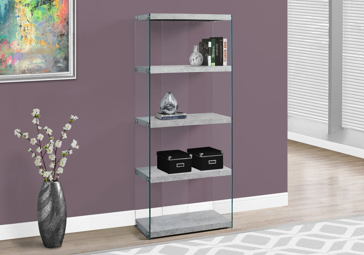 "60""H Cement Grey Bookcase with Tempered Glass by Monarch Specialties Inc. - TheOfficeFurnitureDepot"