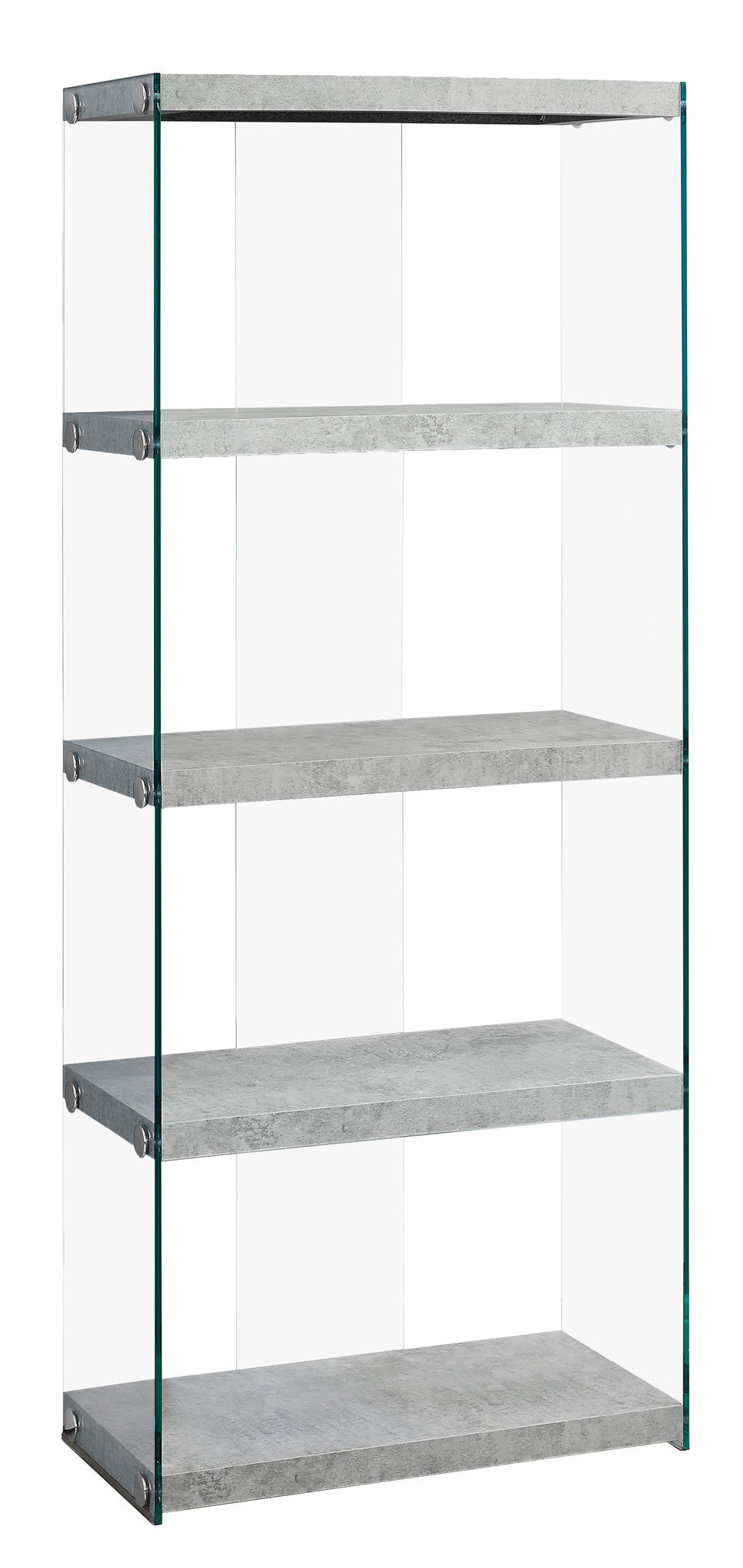 "60""H Cement Grey Bookcase with Tempered Glass by Monarch Specialties Inc. - White Background -TheOfficeFurnitureDepot"