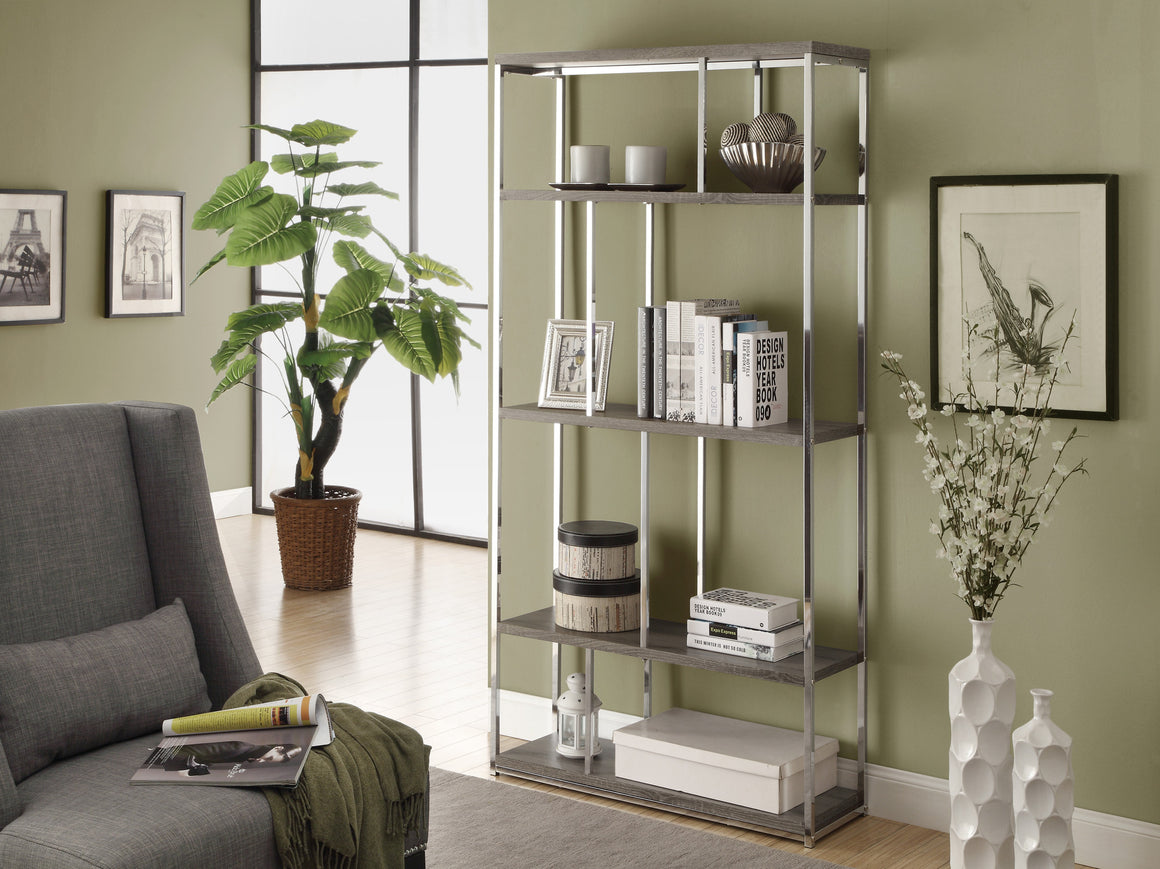 "72""H Dark Taupe Bookcase with Chrome Metal by Monarch Specialties Inc. - TheOfficeFurnitureDepot"