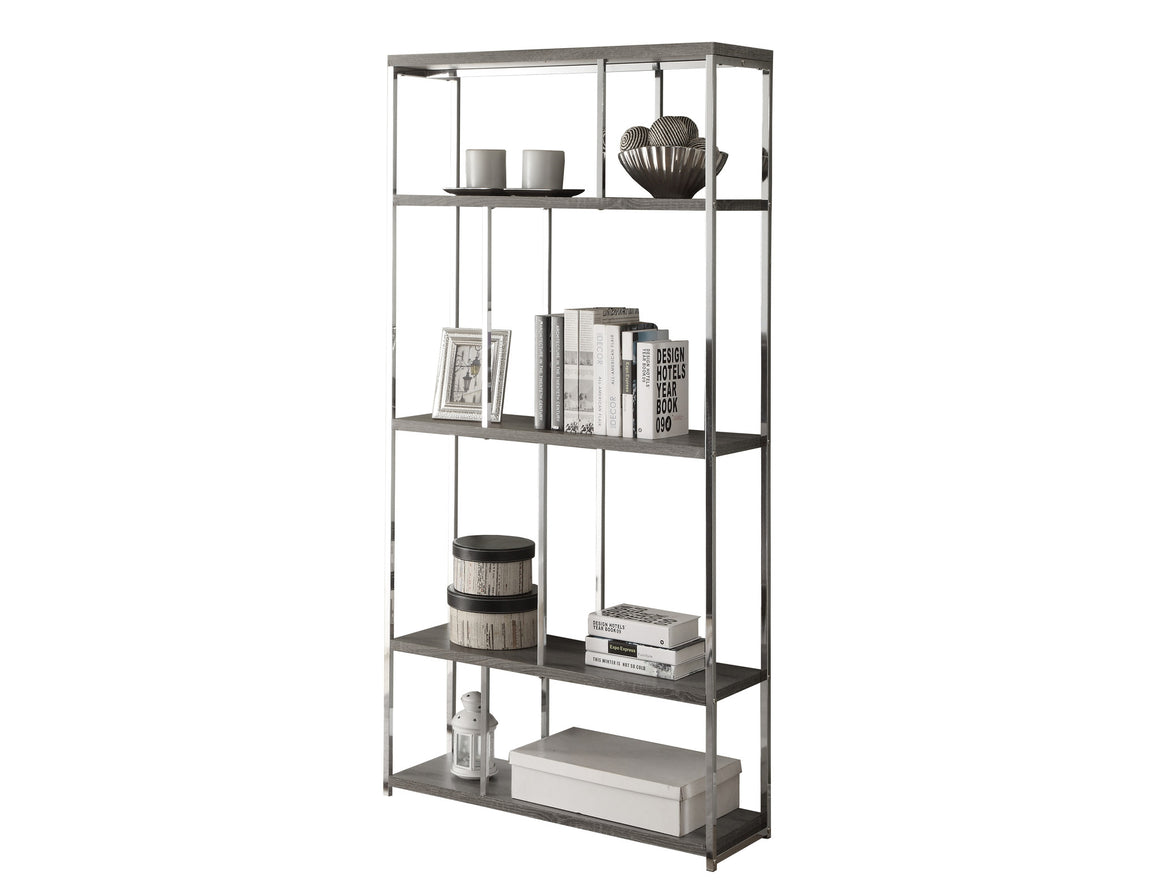 "72""H Dark Taupe Bookcase with Chrome Metal by Monarch Specialties Inc.  - White Background - TheOfficeFurnitureDepot"