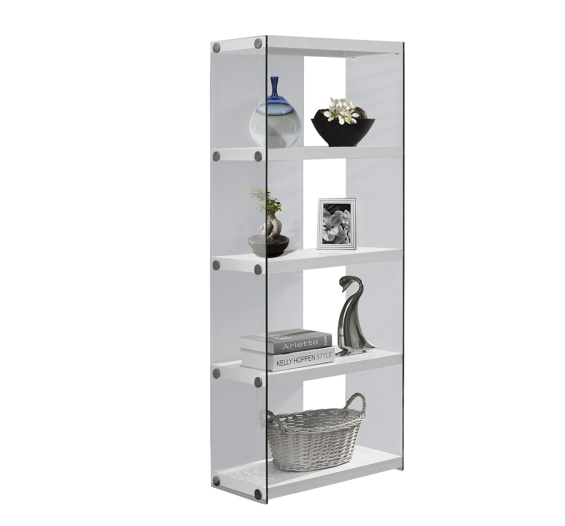 "60""H Glossy White Bookcase with Tempered Glass by Monarch Specialties Inc. - White Background -TheOfficeFurnitureDepot"