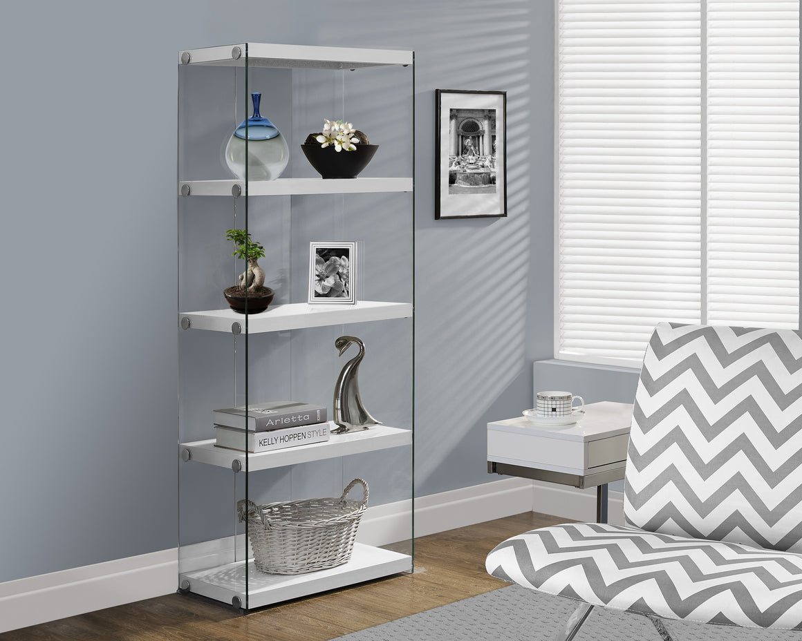"60""H Glossy White Bookcase with Tempered Glass by Monarch Specialties Inc. - TheOfficeFurnitureDepot"