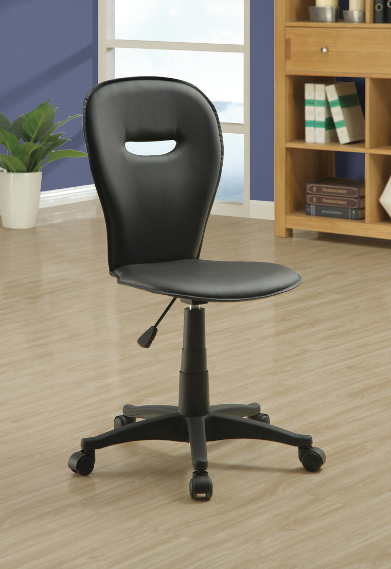 Black Leather-Look Fabric Casual Office Chair by Monarch Specialties Inc. - TheOfficeFurnitureDepot