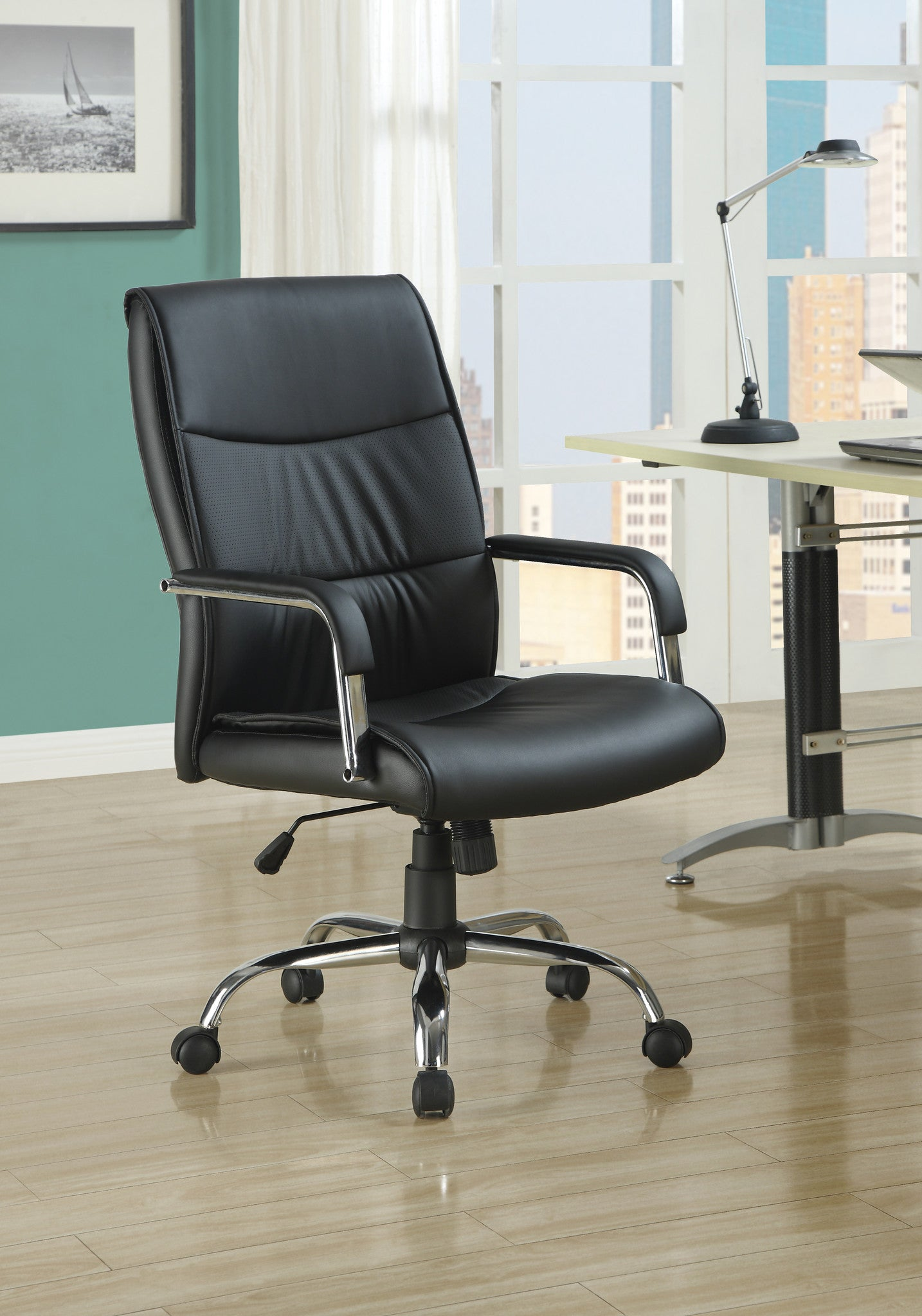 High back black leather look fabric office chair theofficefurnituredepot