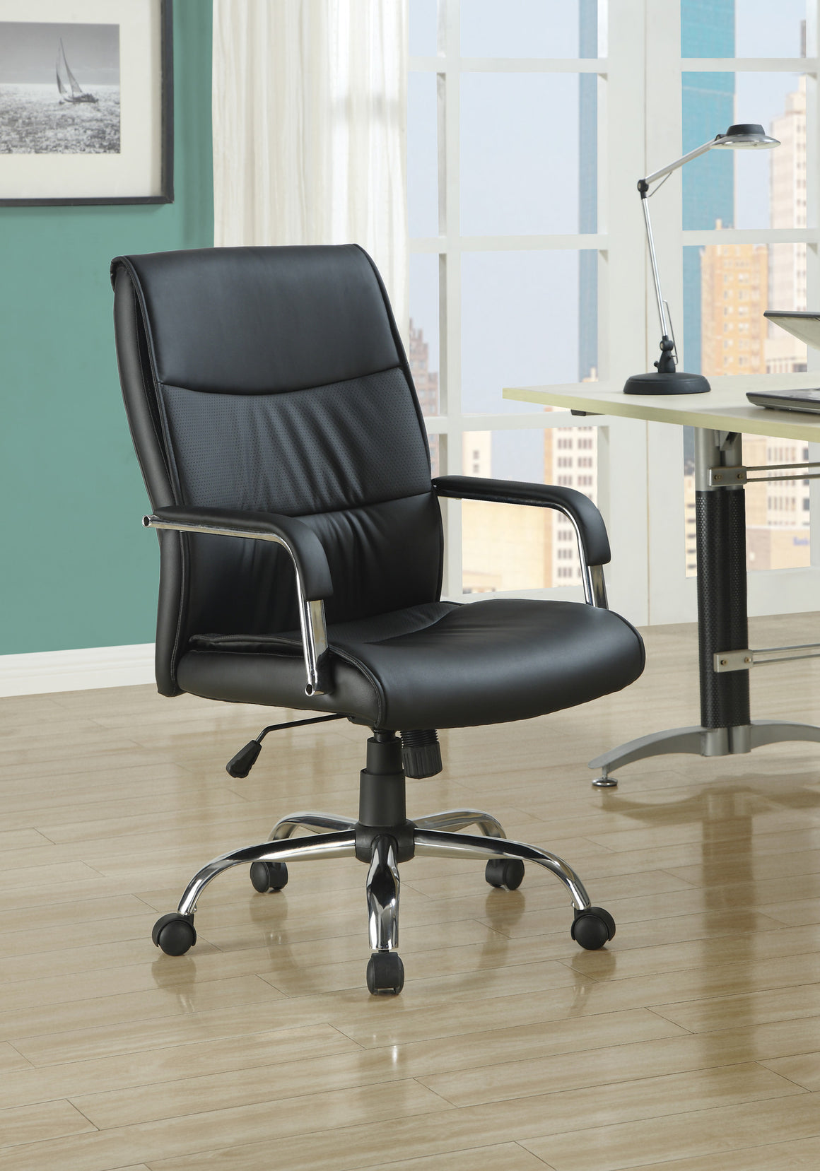 High-back Black Leather-look Fabric Office Chair - TheOfficeFurnitureDepot