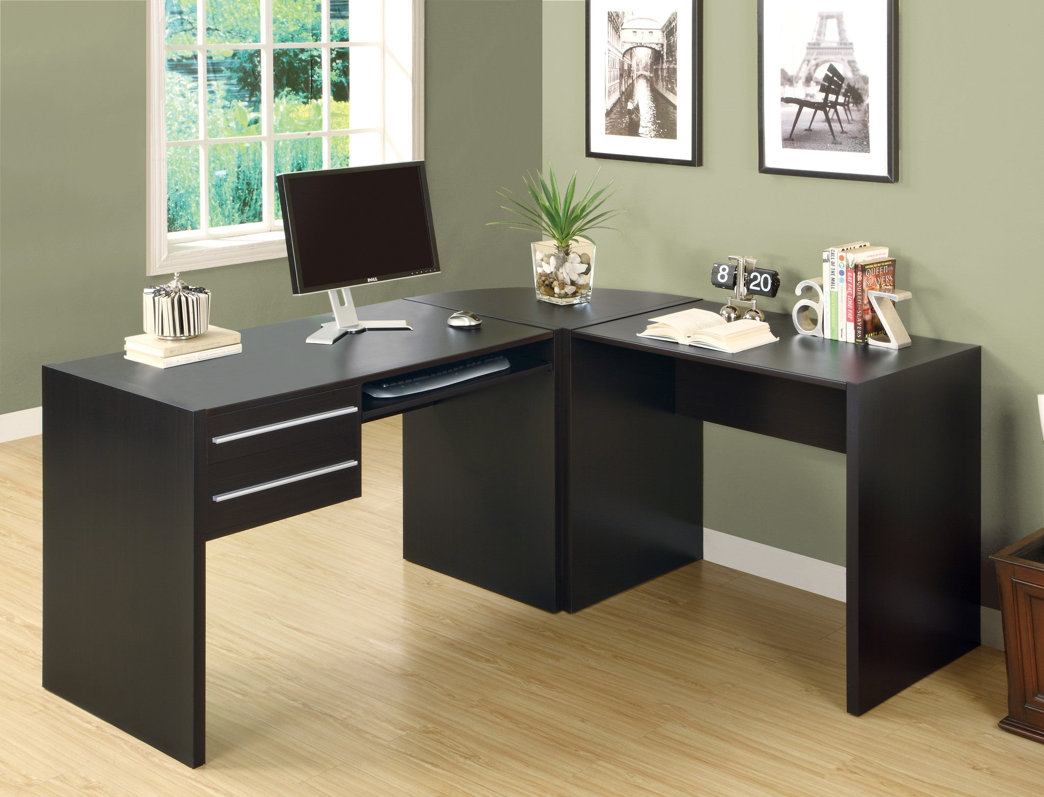 Cappuccino L Shaped Corner Computer Desk / Type 1   TheOfficeFurnitureDepot  ...