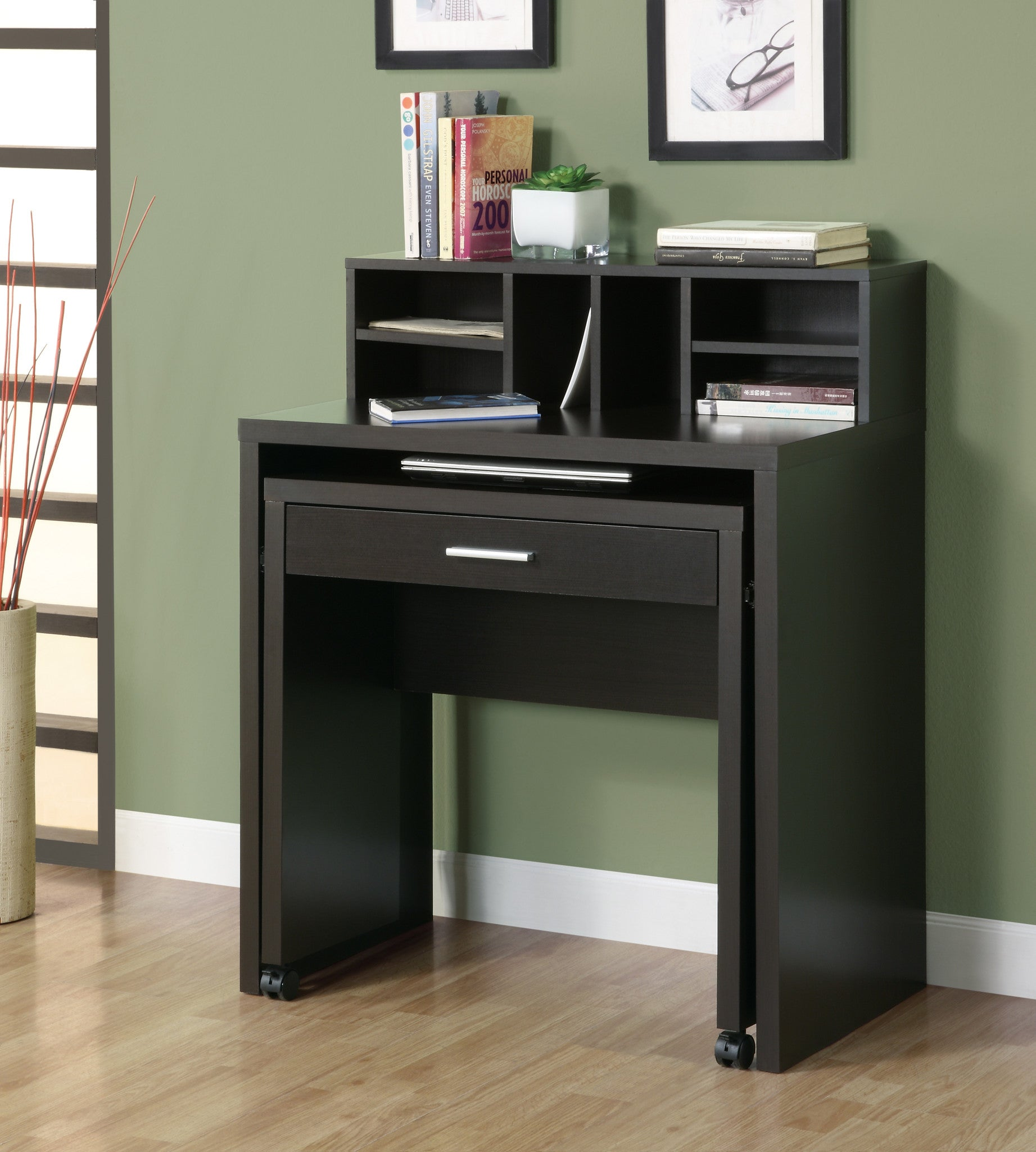 Cappuccino Spacesaver Computer Desk With Open Storage The Office