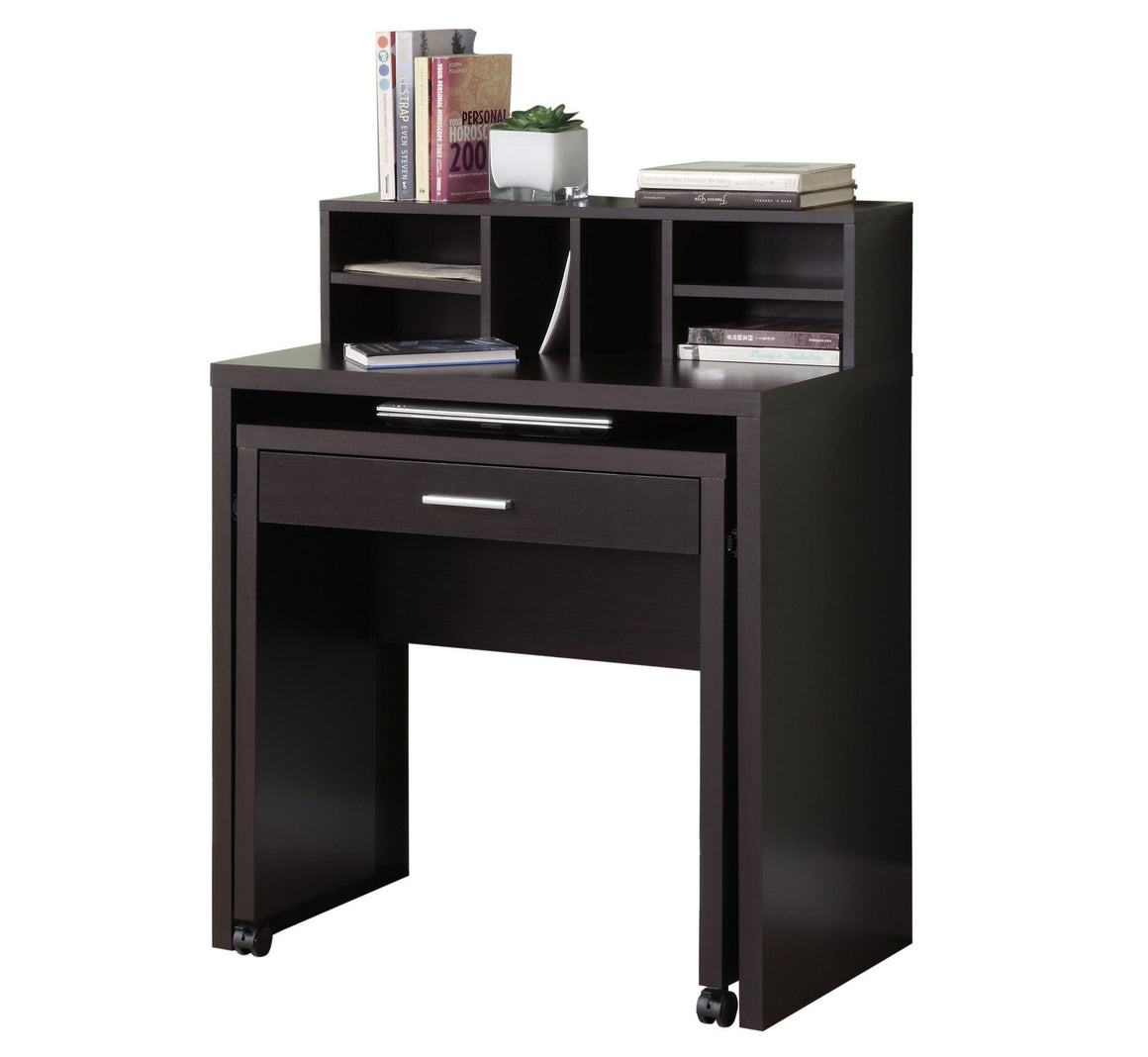 Cappuccino Spacesaver Computer Desk with Open Storage - TheOfficeFurnitureDepot