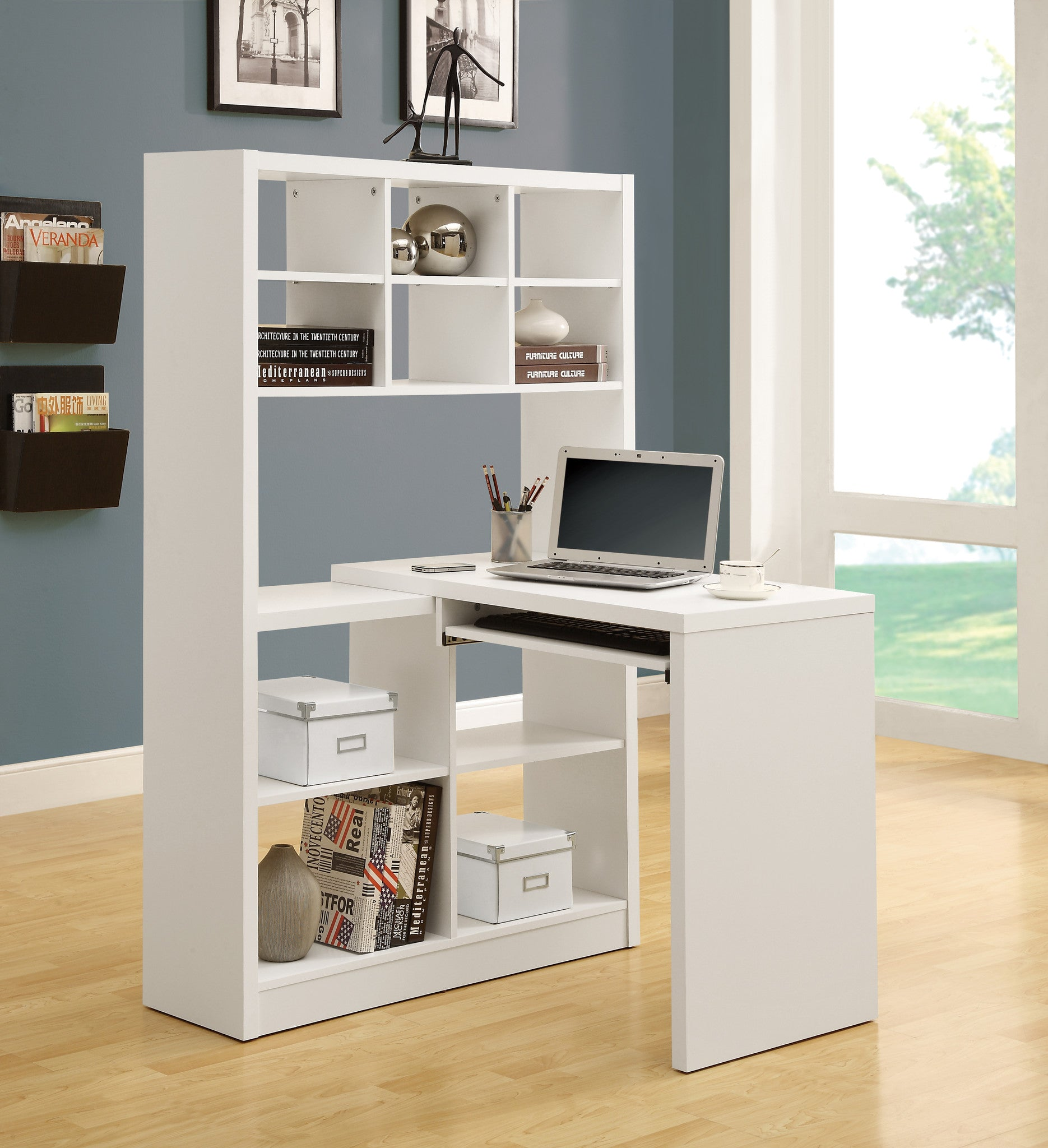 - Corner Computer Desk / Left Or Right Facing With Shelves - The