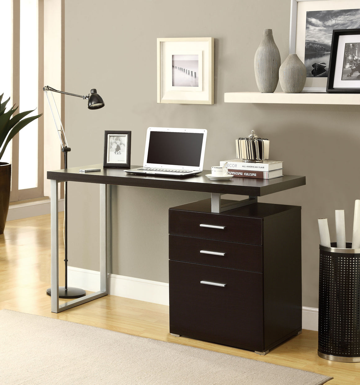 Cappuccino L Shaped Corner Computer Desk / Type 2 - TheOfficeFurnitureDepot