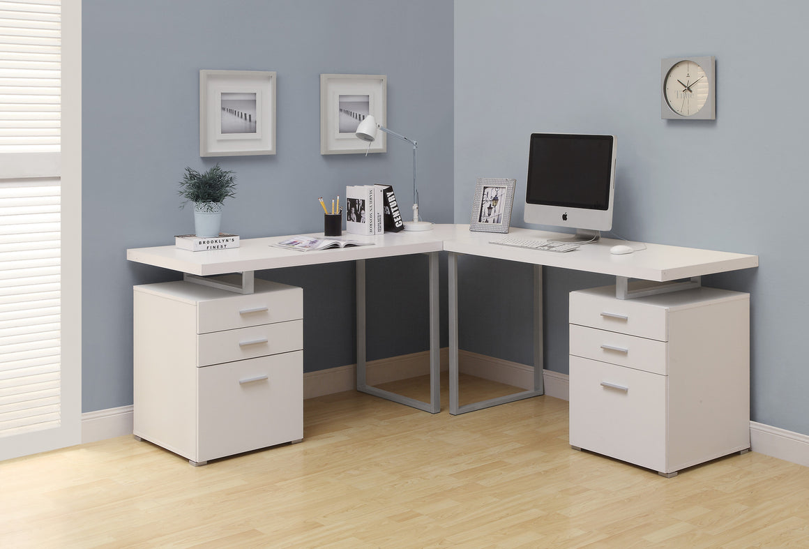 White L Shaped Corner Computer Desk by Monarch Specialties Inc. - The Office Furniture Depot