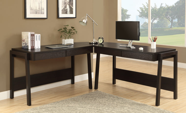 Cappuccino L Shaped Corner Computer Desk / Type 3 by Monarch Specialties Inc. - The Office Furniture Depot