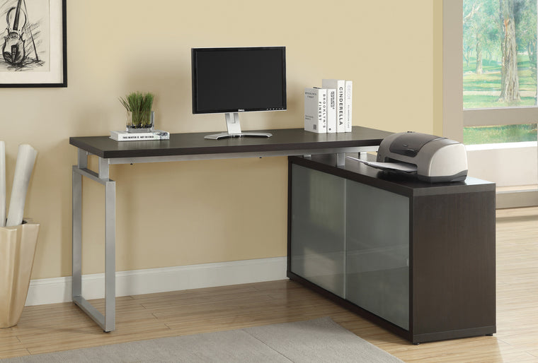 Cappuccino Corner Computer Desk with Frosted Glass by Monarch Specialties Inc. - The Office Furniture Depot