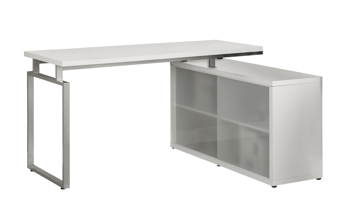 White Corner Computer Desk with Frosted Glass by Monarch Specialties Inc. - White Background - The Office Furniture Depot