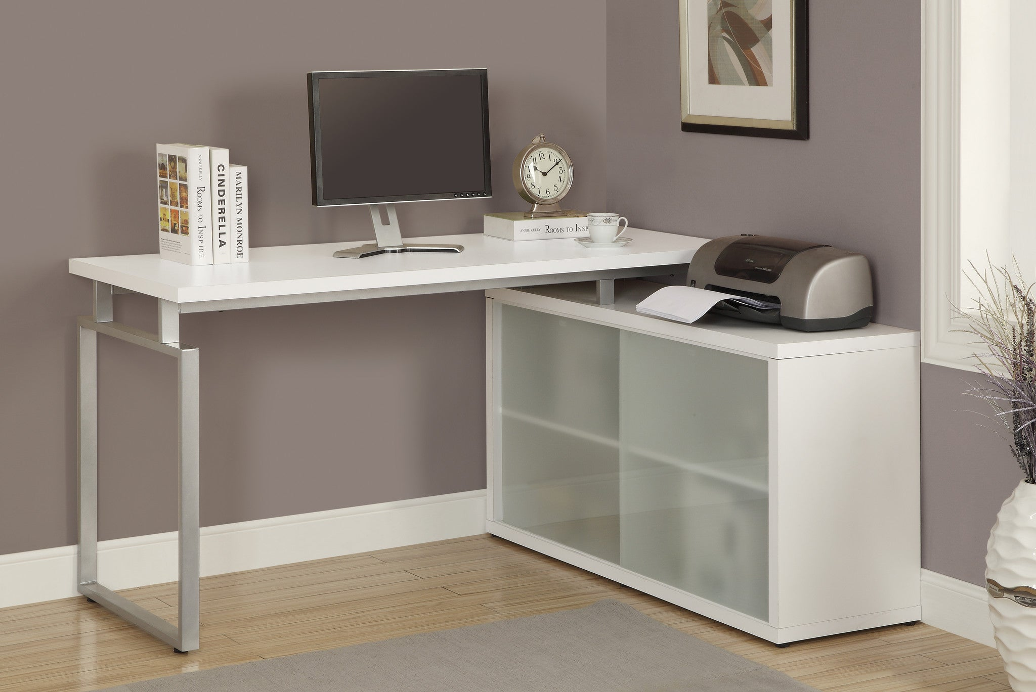 White Corner Computer Desk with Frosted Glass