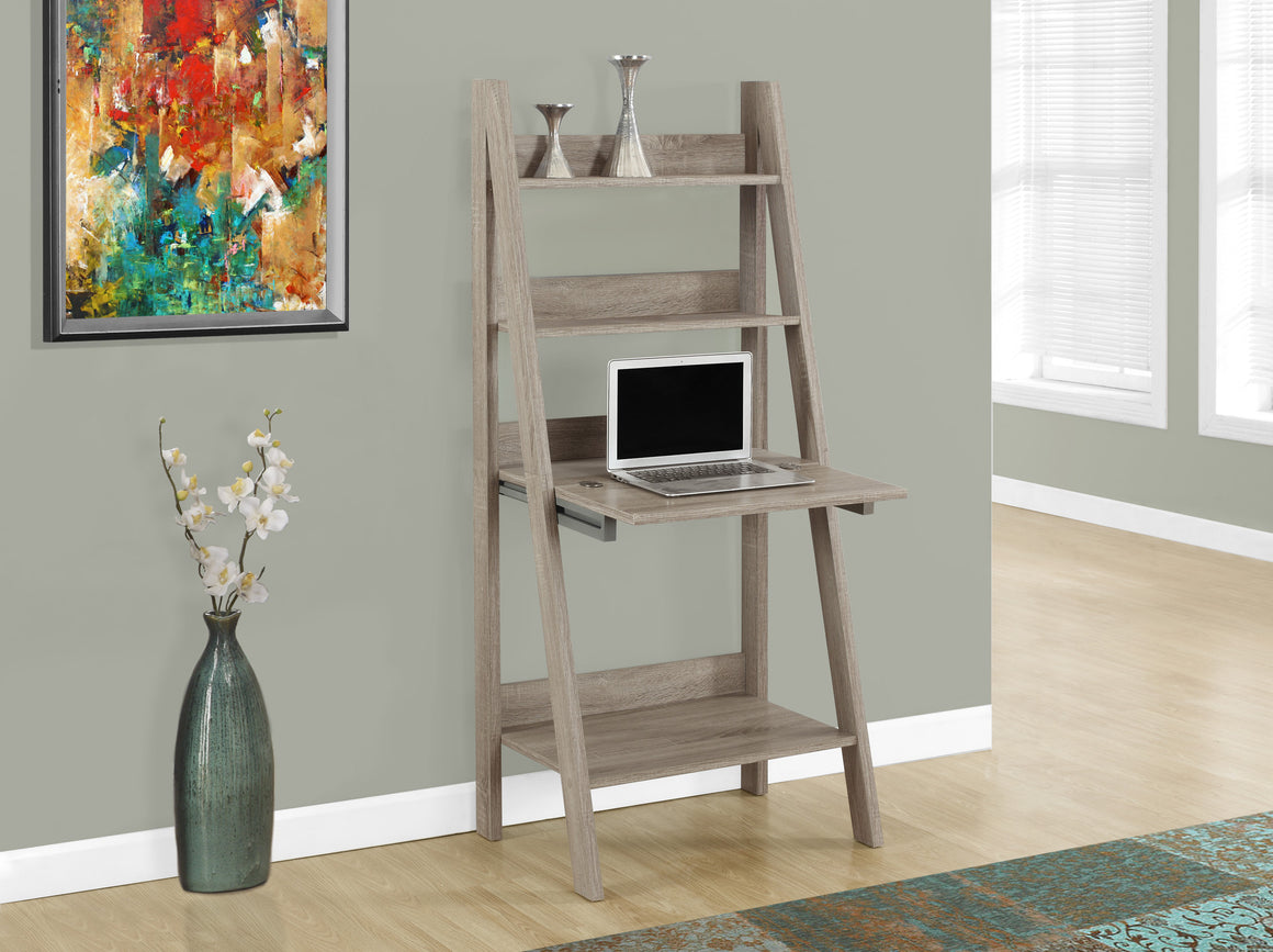 "61""H Dark Taupe Ladder Style Computer Desk - TheOfficeFurnitureDepot"