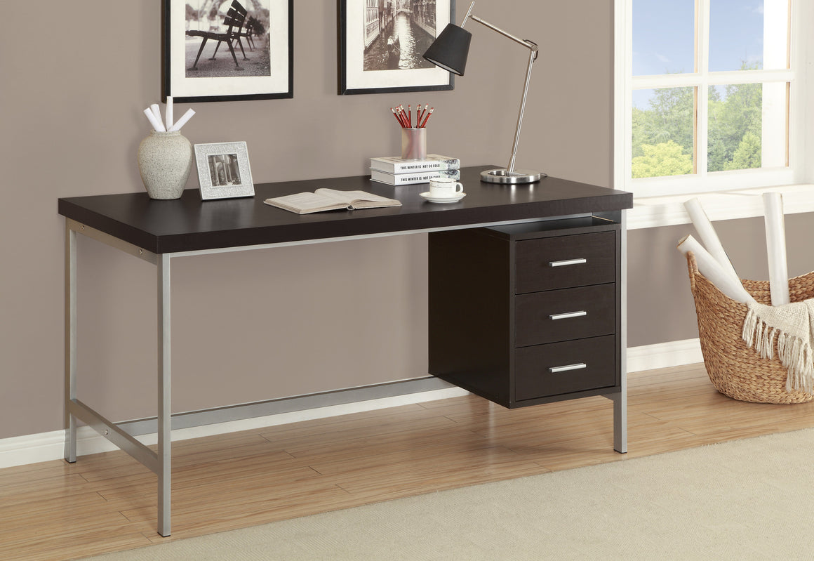 "60""L Cappuccino Computer Desk with Silver Metal / Drawers on One Side by Monarch Specialties Inc. - The Office Furniture Depot"