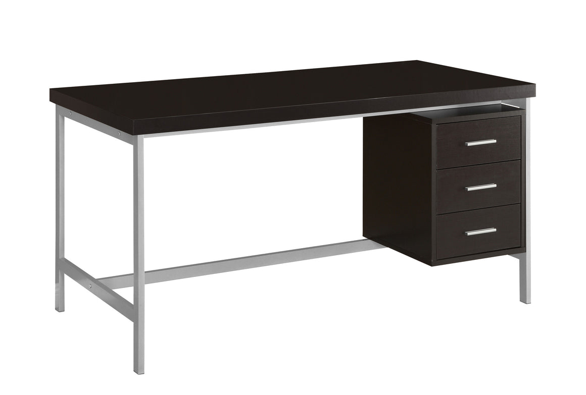 "60""L Cappuccino Computer Desk with Silver Metal / Drawers on One Side by Monarch Specialties Inc. - White Background - The Office Furniture Depot"