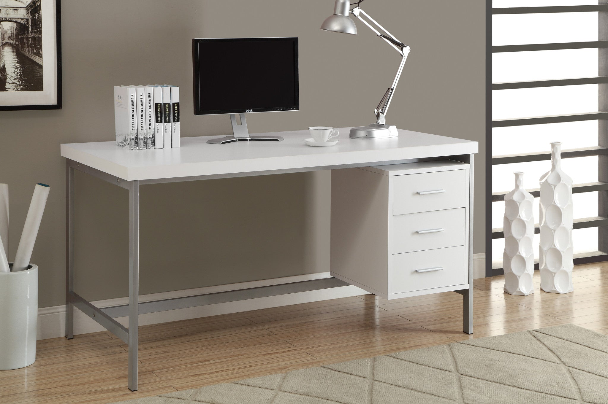 l white computer desk with silver metal  drawers on one side  - l white computer desk with silver metal  drawers on one side by monarch