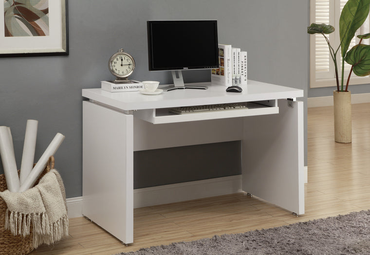 "48""L White Computer Desk / Pull-out Space by Monarch Specialties Inc. - The Office Furniture Depot"