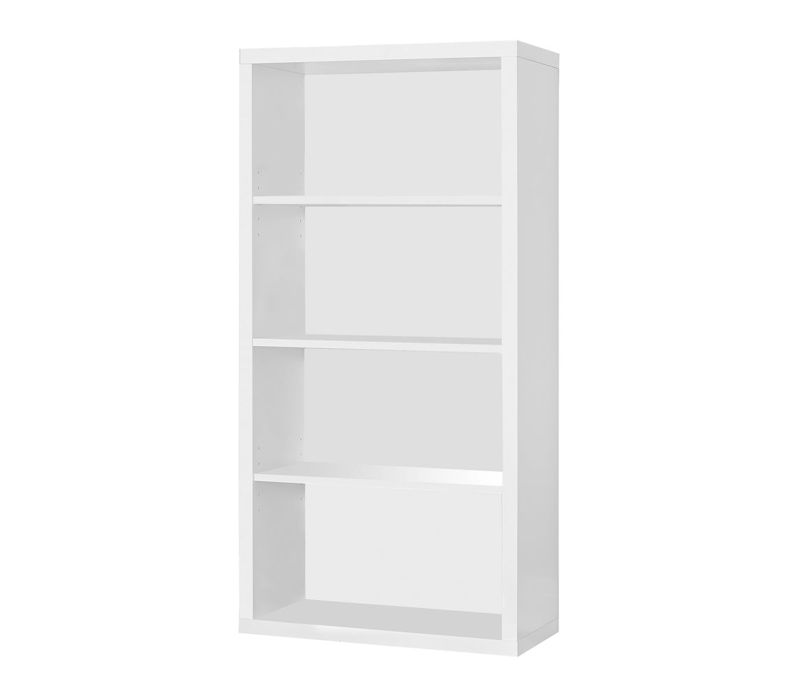 "48""H White Bookcase with Adjustable Shelves by Monarch Specialties Inc. - White Background - The Office Furniture Depot"