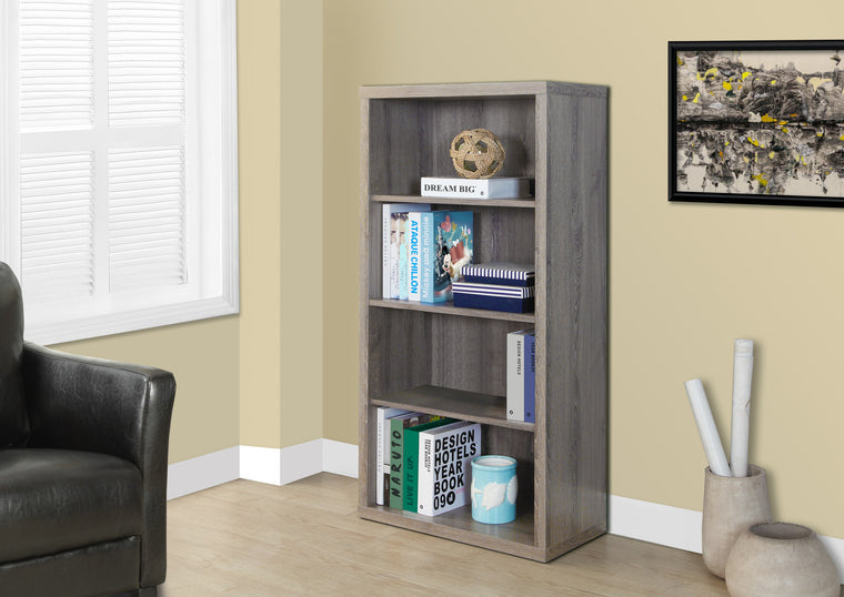 "48""H Dark Taupe Bookcase with Adjustable Shelves by Monarch Specialties Inc. - The Office Furniture Depot"