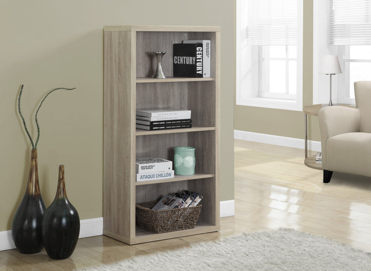 "48""H Natural Bookcase with Adjustable Shelves - TheOfficeFurnitureDepot"