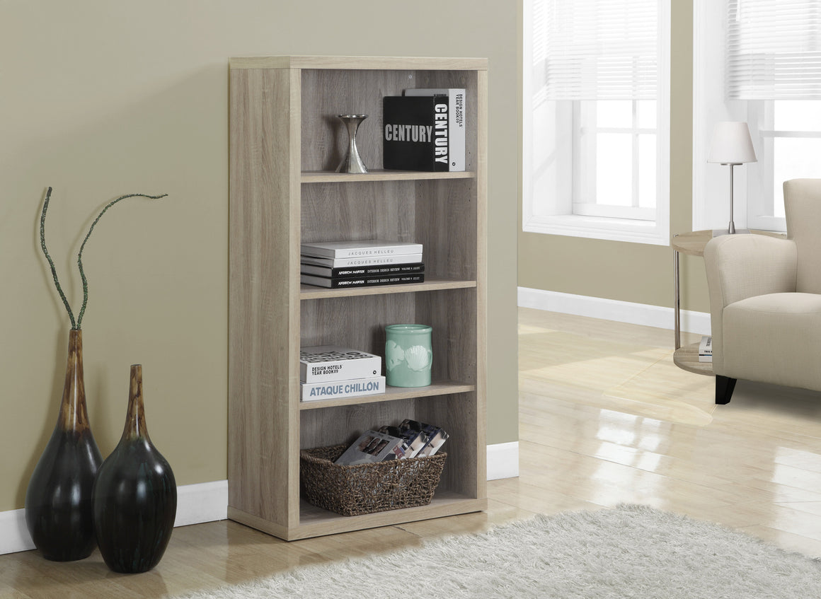 "48""H Natural Bookcase with Adjustable Shelves by Monarch Specialties Inc. - The Office Furniture Depot"