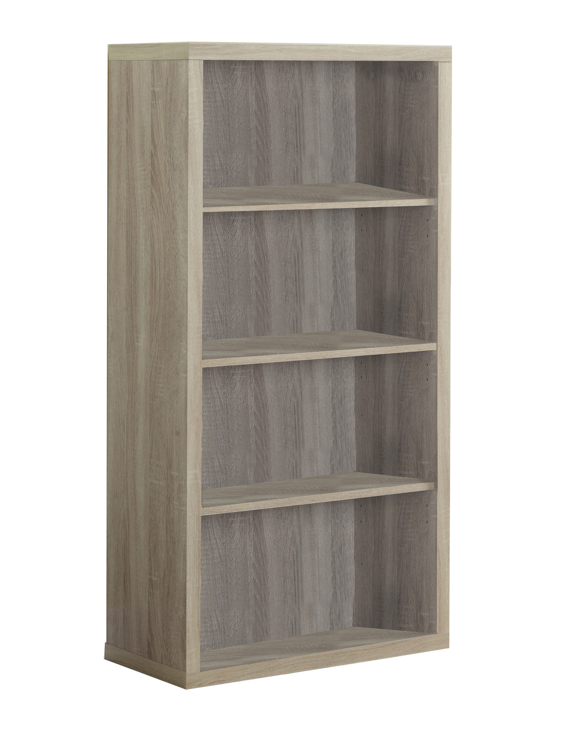 "48""H Natural Bookcase with Adjustable Shelves by Monarch Specialties Inc. - White Background - The Office Furniture Depot"