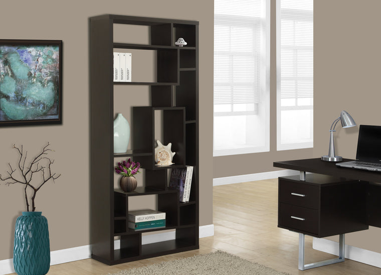 "72""H Cappuccino Bookcase by Monarch Specialties Inc. - The Office Furniture Depot"