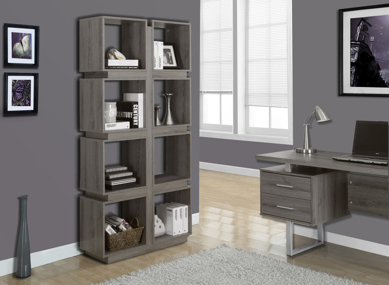 "71""H Dark Taupe Bookcase - TheOfficeFurnitureDepot"
