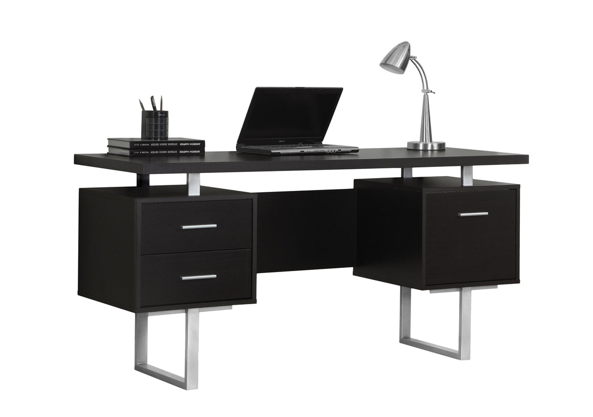 "60""L Cappuccino Computer Desk / Silver Metal Legs / Left and Right Drawers by Monarch Specialties Inc. - White Background - TheOfficeFurnitureDepot"