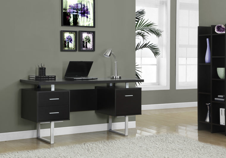 "60""L Cappuccino Computer Desk / Silver Metal Legs / Left and Right Drawers by Monarch Specialties Inc. - TheOfficeFurnitureDepot"