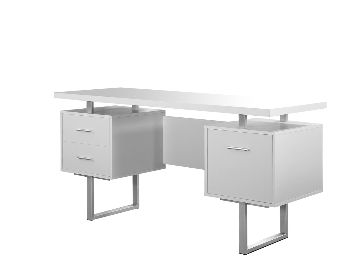 "60""L White Computer Desk / Silver Metal Legs / Left and Right Drawers by Monarch Specialties Inc. - White Background - TheOfficeFurnitureDepot"