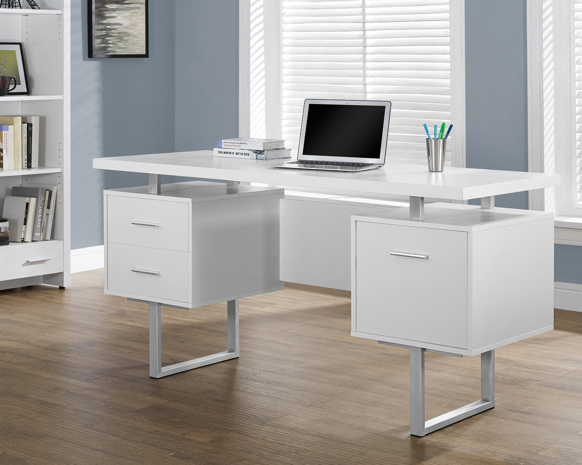"60""L White Computer Desk / Silver Metal Legs / Left and Right Drawers by Monarch Specialties Inc. - TheOfficeFurnitureDepot"