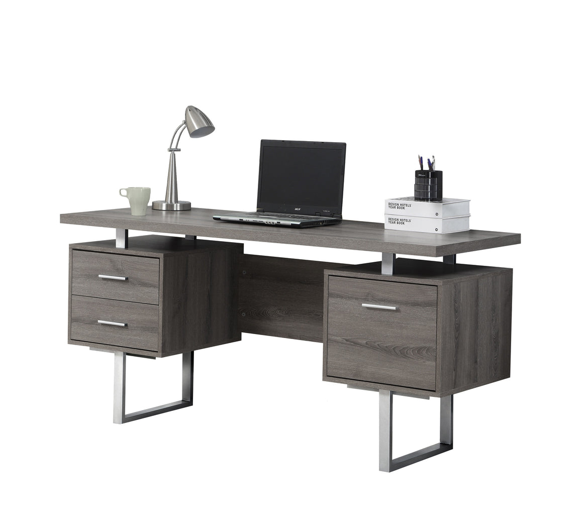 "60""L Dark Taupe Computer Desk / Silver Metal Legs / Left and Right Drawers by Monarch Specialties Inc. - White Background - TheOfficeFurnitureDepot"
