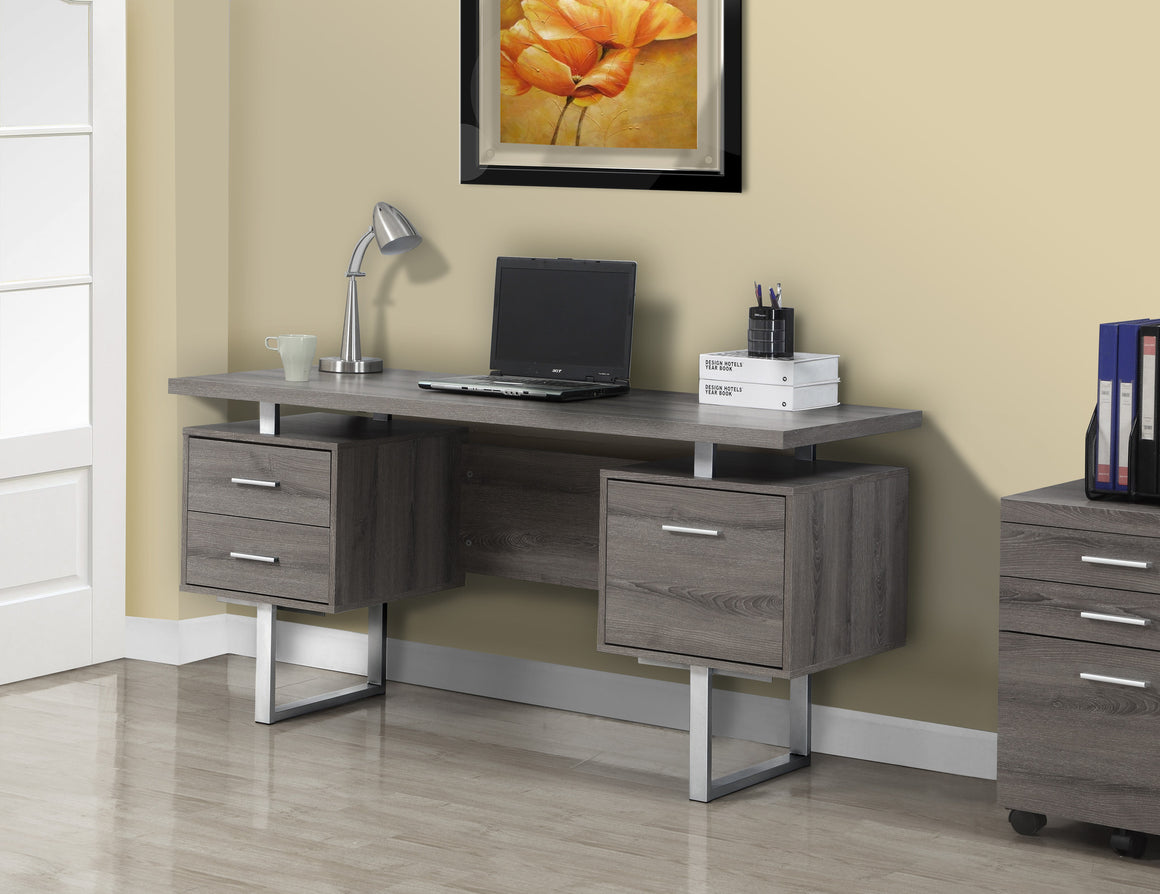 "60""L Dark Taupe Computer Desk / Silver Metal Legs / Left and Right Drawers by Monarch Specialties Inc. - TheOfficeFurnitureDepot"