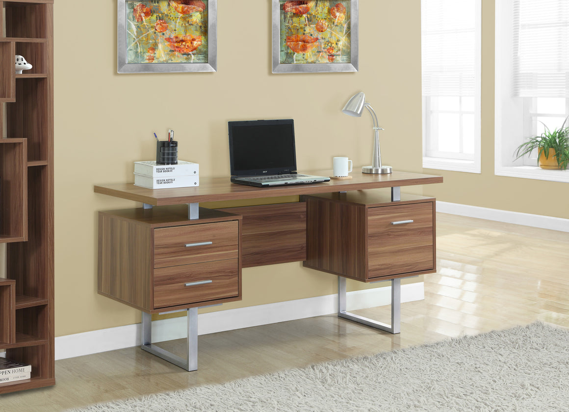"60""L Walnut Computer Desk / Silver Metal Legs / Left and Right Drawers by Monarch Specialties Inc. - TheOfficeFurnitureDepot"